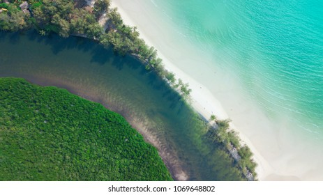 Top view of tropical river beach and turqouise water on the tropical island name Koh Kood in Trat,Thailand