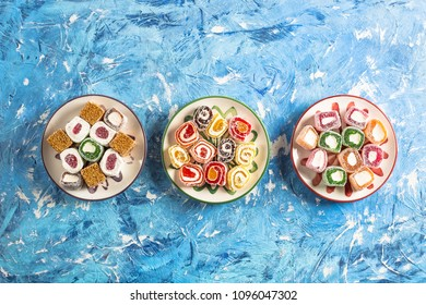 Top View Turkish Delight on Colorful Background