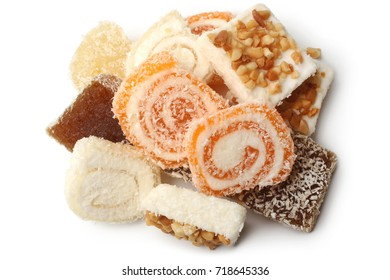 Top view of Turkish delight on white background