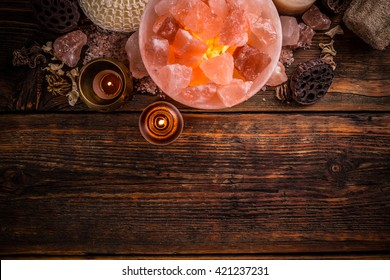 Top view of turned on himalayan crystal natural salt bowl lamp