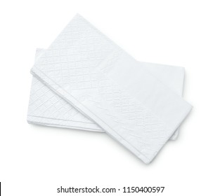 Top view of two facial tissues isolated on white