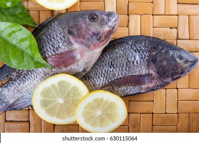Top view of two fresh fish on wood with lemon and leaf, on the top of wood background