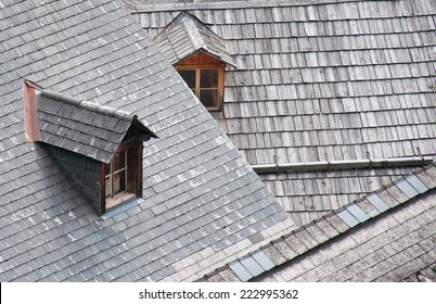 top view of two wooden dormers on a wooden roof