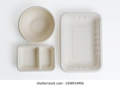 Top view of unbleached plant fiber food box isolated on white with clipping path, Natural fiber eco food box.