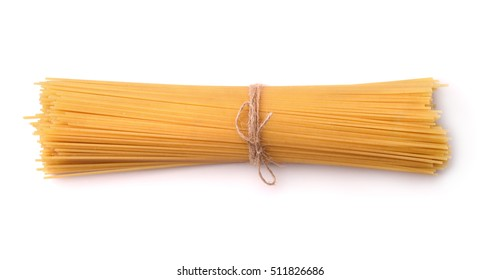 Top view of uncooked italian pasta isolated on white