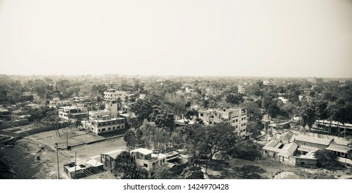 Top view of an urban city area in Bangladesh black and white photo