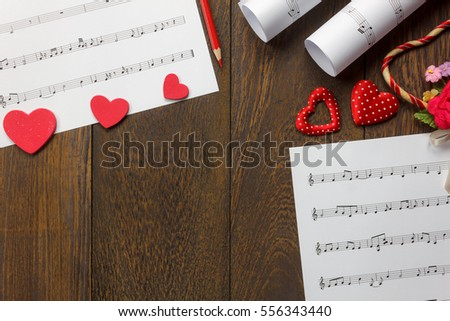 Top View Valentines Day Love Song Stock Photo Edit Now 556343440
