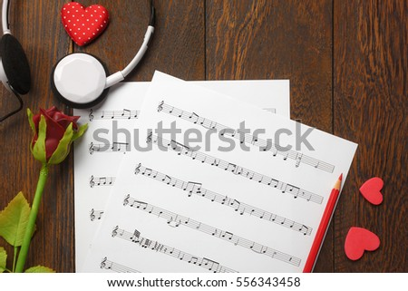 Top view valentines day love song stock photo edit now 556343458 top view valentines day love song music background and decorationsheart shapemusic note mightylinksfo