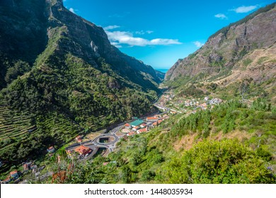 top view to valley Serra de Agua at Madeira Island, Portugal