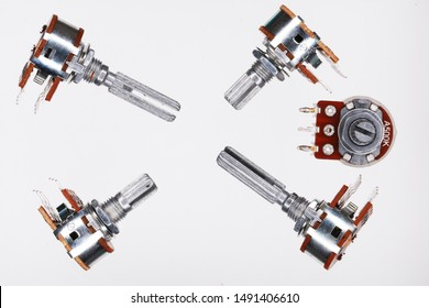 top view Variable resistor.Macro picture adjustable rotary potentiometer isolated on a white background