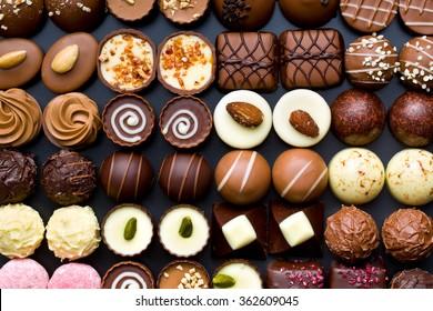 top view of variety chocolate pralines