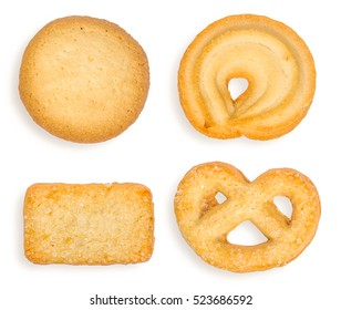 Top view of variety Christmas butter cookies biscuit isolated on white background . Season's greetings.