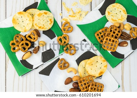 top view variety snacks on soccer stock photo edit now 610201694