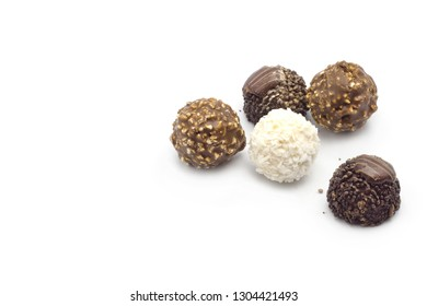 top view various chocolate on white background
