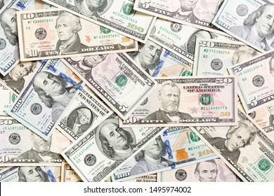Top view of various dollar cash background. Different banknotes concept. Wealth and rich concept.