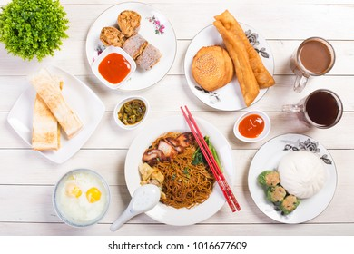 top view of various malaysian chinese breakfast