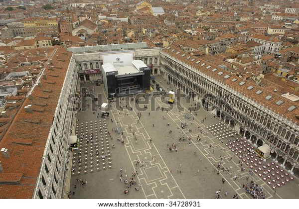 Top View Venetian Famous Square Full Stock Photo (Edit Now
