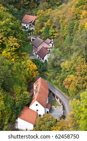top view of the village of Karlshtein in the Czech Republic