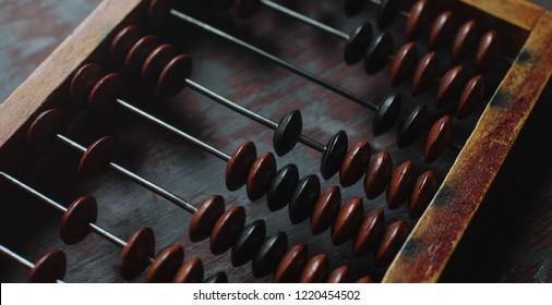 top view of vintage abacus