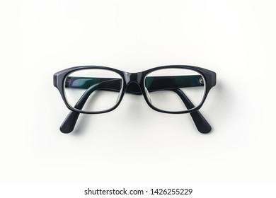 Top view of vintage glasses on white background desk for mockup