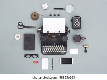 top view vintage old typewriter objects cloud
