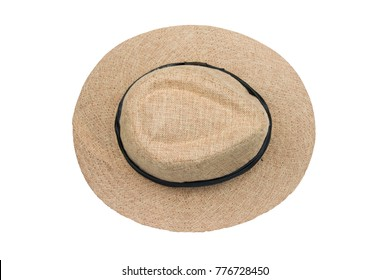 Top view vintage pretty straw hat isolated on white background