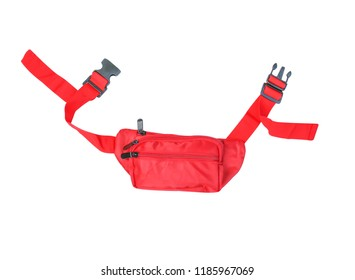 Top view vivid red waist bag isolated on white background