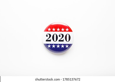 Top view of a vote button for the United States election isolated on white background, elections 2020