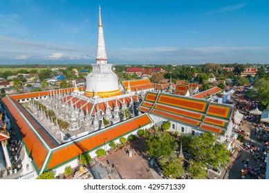Top view of wat phra mahathat nakhon si thammarat