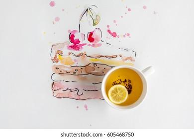 Lemon Slice Cake Drawing Stock Photos Images Photography