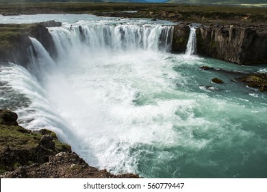 top view of the waterfall Godafoss on Iceland