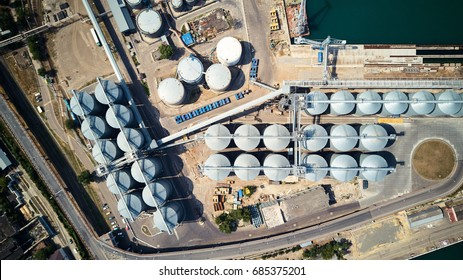 Top view of wheat silos storage in sea port
