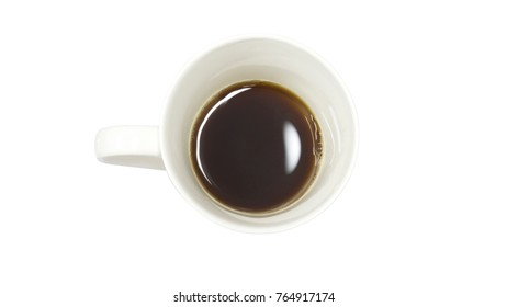 Top view. White coffee Cup. With black coffee inside Is on a white background.