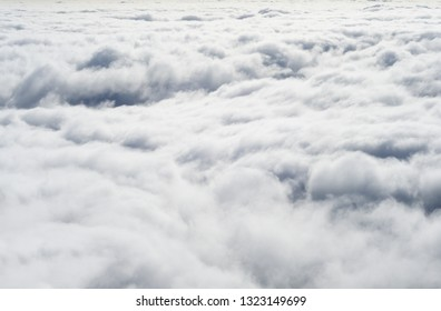 Top view of white cumulus clouds. Abstract background
