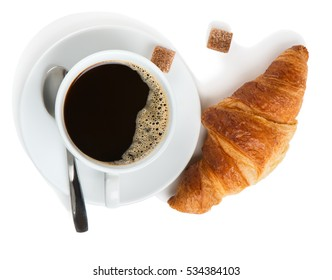 Top view of white cup of black coffee with foam, sugar and croissant isolated on white background