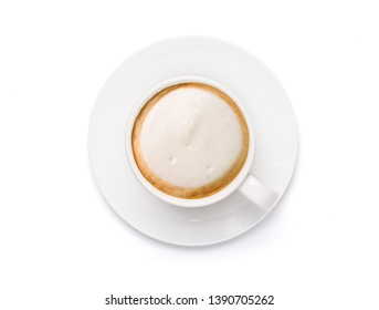 Top view White cup of Cappuccino Latte coffee  isolated on white background with clipping path.