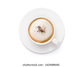 Top view White cup of Cappuccino Latte coffee topped with cocoa powder,  isolated on white background with clipping path.
