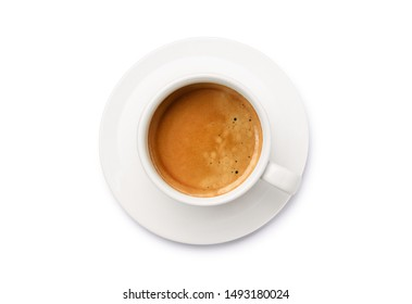 Top view a white cup of espresso coffee isolated on white background. Cllipping path.