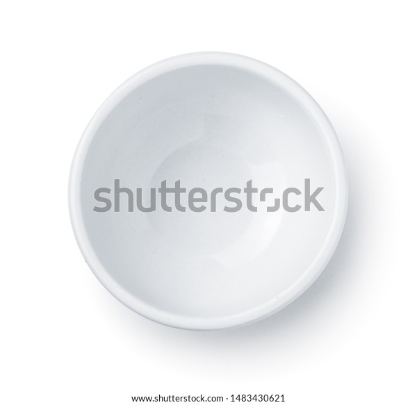 Top view of white empty ceramic dip bowl isolated on white