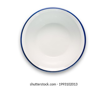 top view of white enamel bowl with blue rim isolated on white background