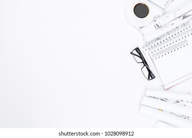 Blueprint paper blank stock photos images photography shutterstock top view of white office desktop with architectural sketch supplies and other items blueprint malvernweather Image collections