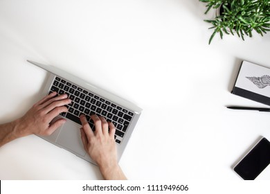 Top view of a white office table, showing man's hands over a silver laptop keyboard, working on something. Smart phone, pencil, notebook  and small plant are aside. Modern working environment.