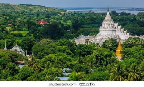 Top view the white pagoda in Mingun - Hsinbyume (Mya Thein Dan pagoda ) paya temple, Mingun, Mandalay, Myanmar.