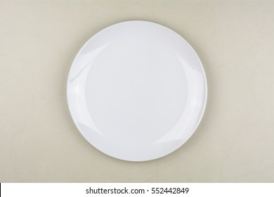 Top view of white plate background