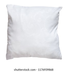top view of white soft pillow isolated on white background