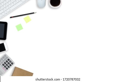 top view white table office working with copy space for text design. minimalist workspace flat lay.  mock up tabletop workplace design.