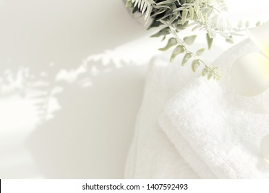 Top view of White towels placed on the table Spa concept - Shutterstock ID 1407592493