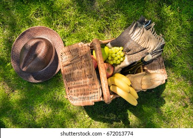 Top view of wicker picnic basket with fruits and wine bottle on green grass at daytime
