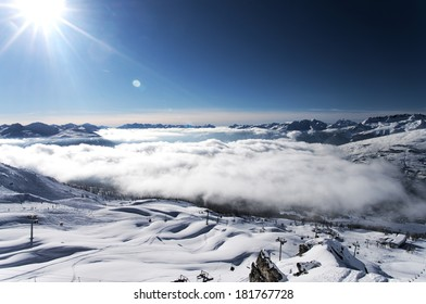 Top view of winter mountain resort Les Arcs, France