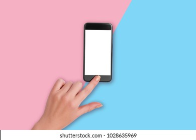 Top view of a woman hand using phone